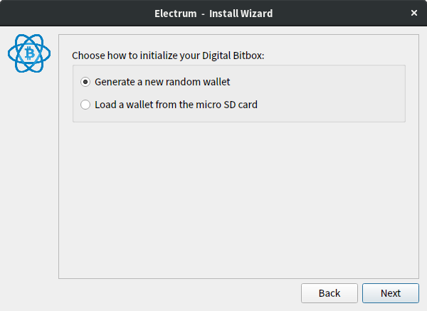Choose how to initialize your Digital Bitbox