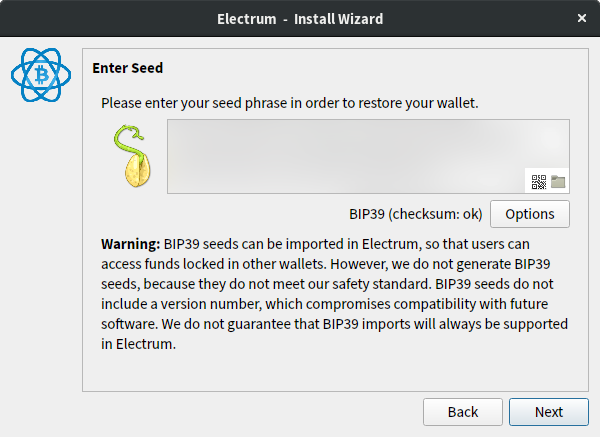 Please enter your seed phrase in order to restore your wallet