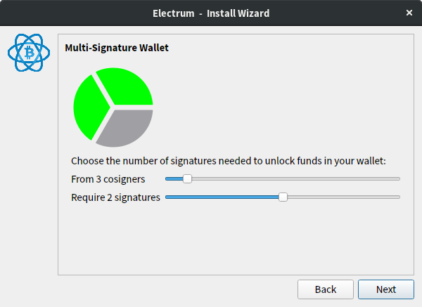 Choose the number of signatures needed to unlock funds in your wallet